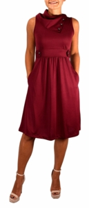 Burgundy Casual Sleeveless Fold Over Collar Swing Vintage Dress