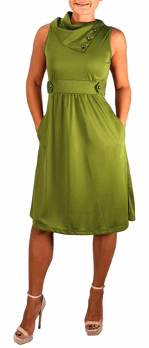 Fit & Flare Womens Casual Sleeveless Fold Over Collar Swing Vintage Dress (Green)