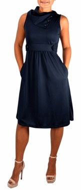 Navy Casual Sleeveless Fold Over Collar Swing Vintage Dress