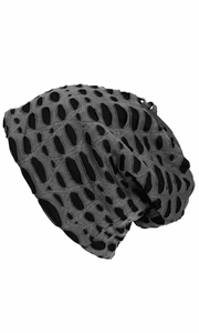 Fleece Lined Unisex Winter Beanie Hat Skull Caps Ripped Charcoal