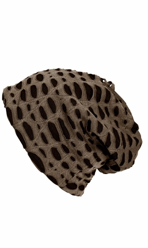 Fleece Lined Unisex Winter Beanie Hat Skull Caps Ripped Taupe