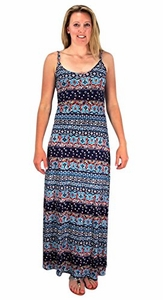 Navy Floral Boho Print Spaghetti Strap Scoop Neck Summer Maxi Dress