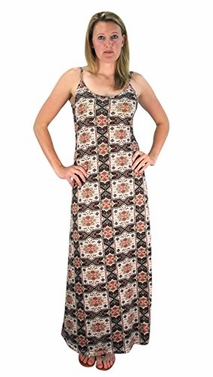 Olive Floral Boho Print Spaghetti Strap Scoop Neck Summer Maxi Dress
