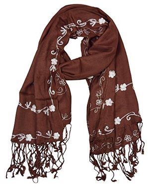 Floral Hand Embroidered Two Color Pashmina Shawl Scarf