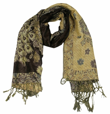 Floral Peacock Reversible Pashmina Wrap Shawl Scarf (Brown)