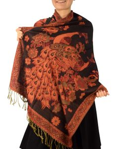 Brown Peacock Floral Reversible Pashmina Wrap Shawl Scarf