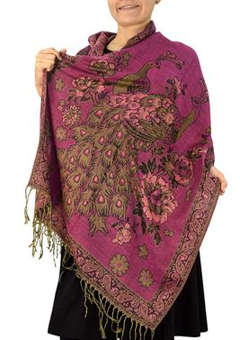 Hot Pink Peacock Floral Reversible Pashmina Wrap Shawl Scarf