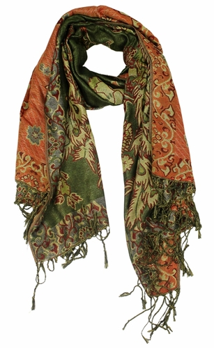 Floral Peacock Reversible Pashmina Wrap Shawl Scarf (Olive)