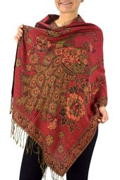 Red Peacock Floral Reversible Pashmina Wrap Shawl Scarf