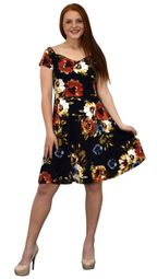 Black Floral Print Princess Seam Cocktail Skater Dress