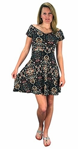 Navy Floral Print Princess Seam Cocktail Skater Dress