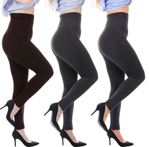 French Terry Cotton Extra-Thick High Waist Compression Leggings - 3 Pack