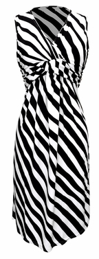Black & White Trendy Knotted Tank Sleeveless Striped Mid Length Sundress (Small)