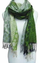 Green Tricolor Design Pashmina Shawl Wrap