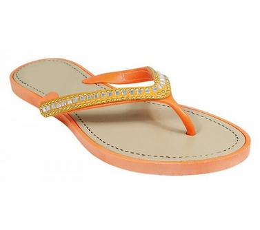 Orange Gem Jewel Comfy Flat Flip Flop Thong Beach Summer