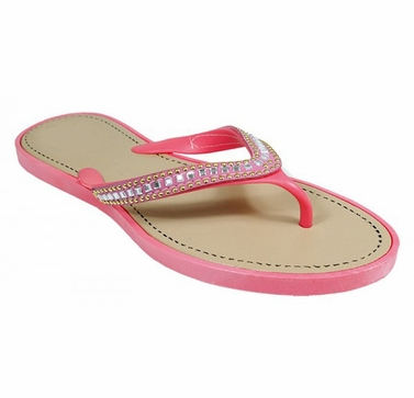 Pink Gem Jewel Comfy Flat Flip Flop Thong Beach Summer