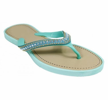 Teal Gem Jewel Comfy Flat Flip Flop Thong Beach Summer