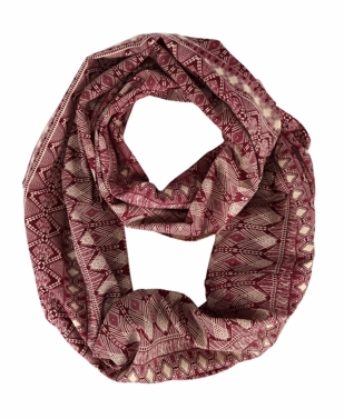 Maroon Graphic Bohemian Infinity Loop Circle Scarves