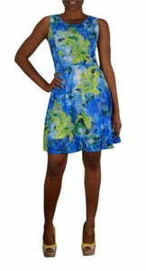 Turquoise Graphic Lace Floral Design Knee Length Skater Dress