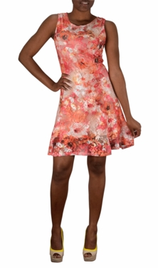 Coral Graphic Lace Floral Design Knee Length Skater Dress