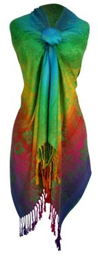 Green Rainbow Hibiscus Floral Pashmina Wrap Shawl Scarf