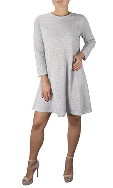 Grey Fashion 3/4 Sleeve Scoop Neck T-Shirt Dress