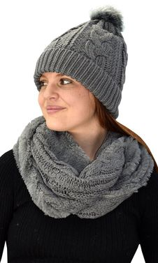 Grey 97 Cable Knit Weave Beanie Hat Plush Infinity Loop Scarf 2 Pack