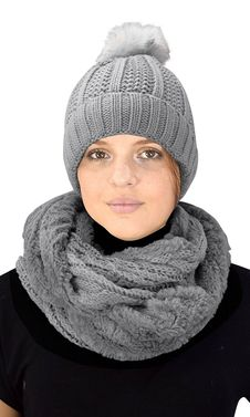 Grey 98 Cable Knit Weave Beanie Hat Plush Infinity Loop Scarf 2 Pack