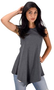 Grey Cotton Summer Tank Top Tunic Handkerchief Hem Shirt