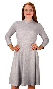 Grey Ardent Academic Cozy Stylish Knit Pullover Sweater Dress