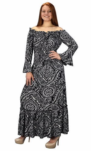 Black White Gypsy Boho Cap Sleeves Smocked Waist Tiered Renaissance Maxi Dress
