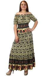 Black Yellow Gypsy Boho Cap Sleeves Smocked Waist Tiered Renaissance Maxi Dress