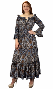 Blue Brown Gypsy Boho Cap Sleeves Smocked Waist Tiered Renaissance Maxi Dress