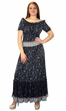 Navy Blue Gypsy Boho Cap Sleeves Smocked Waist Tiered Renaissance Maxi Dress