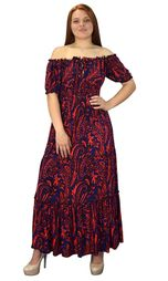 Navy Red Gypsy Boho Cap Sleeves Smocked Waist Tiered Renaissance Maxi Dress