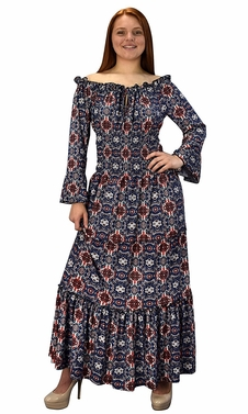 Navy Red Blue Gypsy Boho Cap Sleeves Smocked Waist Tiered Renaissance Maxi Dress