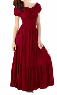 Red Gypsy Boho Cap Sleeves Smocked Waist Maxi Dress