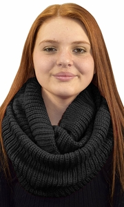Black Hand Made Thick Ribbed Chunky Knit Infinity loop Scarves Ribbed