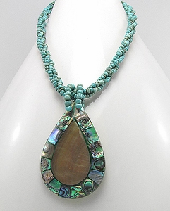 Handcrafted Mother Of Pearl Beaded Statement Necklace
