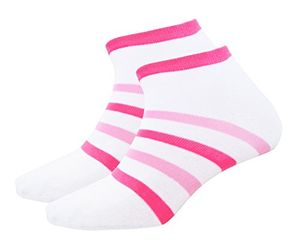 Hanes Girl's Low Cut 4 Pair Value Pack Striped Colorful White Socks
