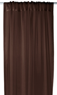 "Brown Light 1 Piece Solid Color Sheer Window Treatment Curtain Panel with Rod Pocket - 54"" X 84"""