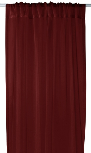 "Burgundy Light 1 Piece Solid Color Sheer Window Treatment Curtain Panel with Rod Pocket - 54"" X 84"""