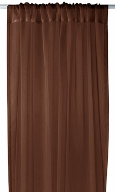 "Chocolate Brown Light 1 Piece Solid Color Sheer Window Treatment Curtain Panel with Rod Pocket - 54"" X 84"""