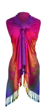 Hot Pink Rainbow  Hibiscus Floral Pashmina Wrap Shawl Scarf