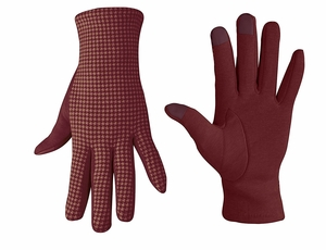 Houndstooth Fleece Lined Smart Phone Compatible Gloves