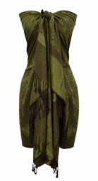 Elegant Vintage Jacquard Paisley Shawl Wrap (Forest Green/Brown)