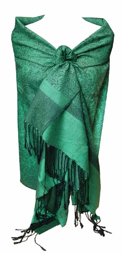 Green Black Jacquard Pashmina Shawl Wrap