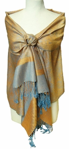 Orange/Light Blue Jacquard Pashmina Shawl Wrap