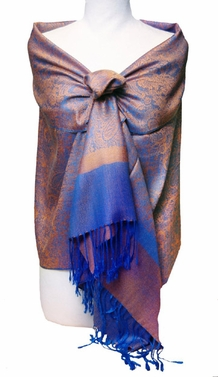 Jacquard Orange and Royal Blue Pashmina Shawl Wrap