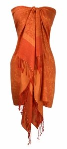 Elegant Vintage Jacquard Pashmina Shawl Wrap (Orange/Yellow )